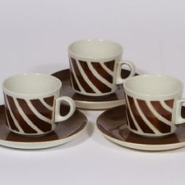 Arabia BR kahvikupit, ruskea, 3 kpl, suunnittelija Göran Bäck, puhalluskoriste