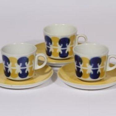 Arabia BR kahvikupit, ruskea-sininen, 3 kpl, suunnittelija Göran Bäck, puhalluskoriste