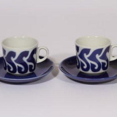 Arabia BR kahvikupit, sininen, 2 kpl, suunnittelija Göran Bäck, puhalluskoriste