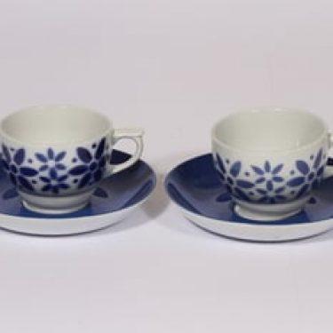 Arabia Armi kahvikupit, sininen, 2 kpl, suunnittelija Greta-Lisa Jäderholm-Snellman, puhalluskoriste
