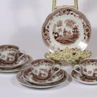 Arabia Singapore kahvikupit ja lautaset, ruskea, 3 kpl, suunnittelija , kuparipainikoriste