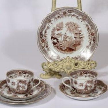 Arabia Singapore kahvikupit ja lautaset, ruskea, 2 kpl, suunnittelija , kuparipainikoriste, kullattu