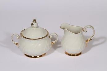 Arabia Kultakoriste sokerikko ja kermakko, valkoinen, suunnittelija , kullattu