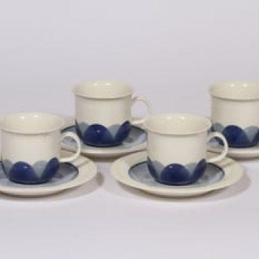 Arabia Pudas Arctica kahvikupit, sininen, 4 kpl, suunnittelija Inkeri Leivo, serikuva