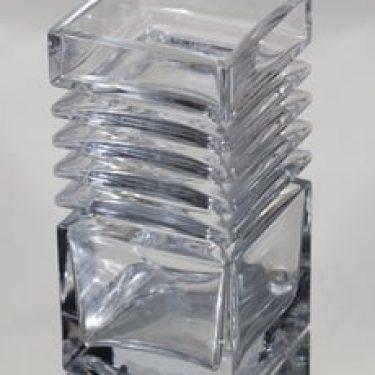 Riihimäen lasi Harmonikka maljakko, kirkas, suunnittelija Tamara Aladin, massiivinen