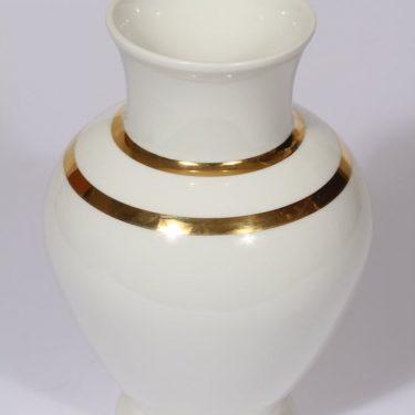 Arabia maljakko, valkoinen, suunnittelija Richard Lindh, kultaraita