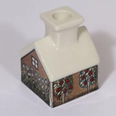 Arabia Talo kynttilänjalka, signeerattu, suunnittelija Heljä Liukko-Sundström, signeerattu, pieni, serikuva