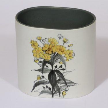 Arabia Kukka maljakko, käsinmaalattu, suunnittelija Hilkka-Liisa Ahola, käsinmaalattu, suuri, signeerattu, kukka-aihe