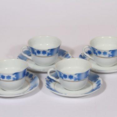 Arabia SV kahvikupit, sininen, 4 kpl, suunnittelija Svea Granlund, puhalluskoriste, nimetön koriste