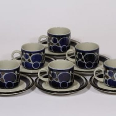 Arabia Saara kahvikupit, 14 cl, 6 kpl, suunnittelija Anja Jaatinen-Winquist, 14 cl, puhalluskoriste, retro