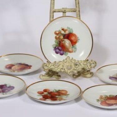 Arabia koriste numero 316 lautaset, 6 kpl, suunnittelija , pieni, siirtokuva, kullattu