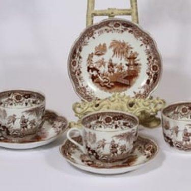 Arabia Singapore teekupit, ruskea, 3 kpl, suunnittelija , kuparipainikoriste