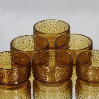 Riihimäen lasi Grapponia annoskulhot, amber, 6 kpl, suunnittelija Nanny Still,