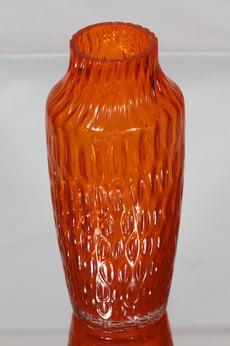 Riihimäen lasi 1433 maljakko, oranssi, suunnittelija Tamara Aladin, suuri, retro