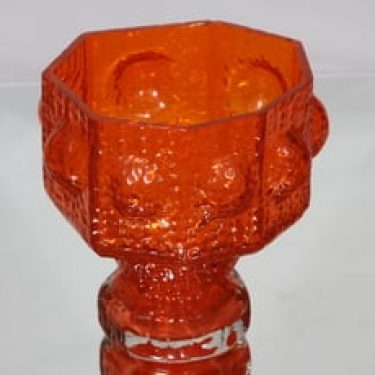 Riihimäen lasi Fontana maljakko, oranssi, suunnittelija Nanny Still, suuri, retro