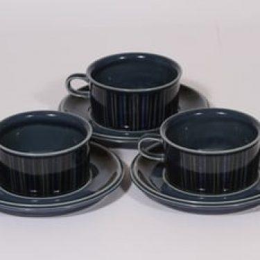 Arabia Kosmos teekupit, sininen, 3 kpl, suunnittelija Gunvor Olin-Grönqvist, puhalluskoriste, retro