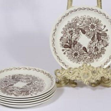 Arabia Elina leipälautaset, 6 kpl, suunnittelija Esteri Tomula, pieni, serikuva