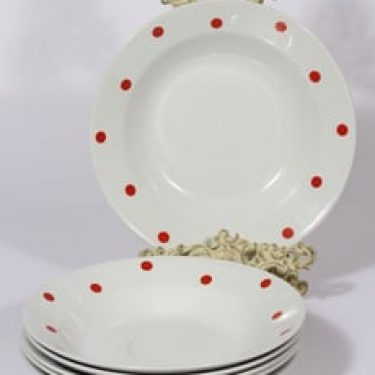 Arabia Ping Pong lautaset, syvä, 6 kpl, suunnittelija Raija Uosikkinen, syvä, serikuva, retro