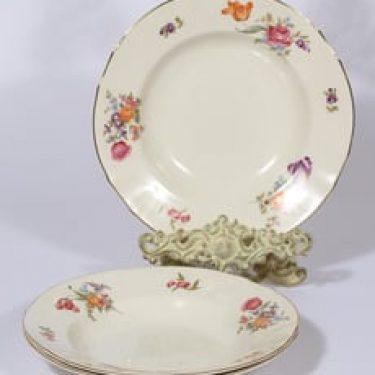 Arabia Kesäkukka lautaset, syvä, 3 kpl, suunnittelija , syvä, siirtokuva, kukka-aihe