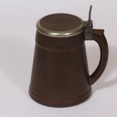 Arabia tuoppi, ruskea lasite, suunnittelija , kannellinen