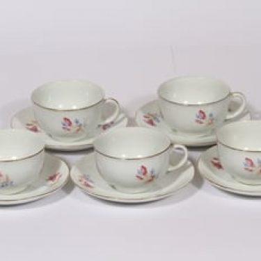 Arabia OZ kahvikupit, kukkakuvio, 5 kpl, suunnittelija Kaj Franck, kukkakuvio, siirtokuva, kukka-aihe
