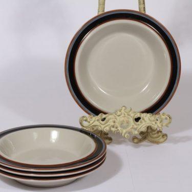 Arabia Taika lautaset, syvä, 4 kpl, suunnittelija Inkeri Seppälä, syvä, raitakoriste