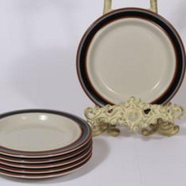 Arabia Taika lautaset, pieni, 6 kpl, suunnittelija Inkeri Seppälä, pieni, raitakoriste