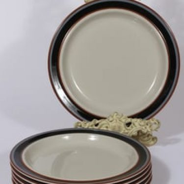 Arabia Taika lautaset, matala, 6 kpl, suunnittelija Inkeri Seppälä, matala, raitakoriste
