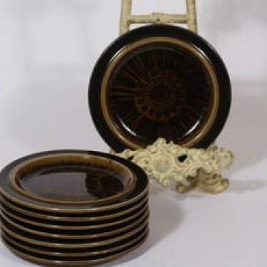 Arabia Kosmos lautaset, pieni, 8 kpl, suunnittelija Gunvor Olin-Grönqvist, pieni, puhalluskoriste