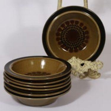 Arabia Kosmos lautaset, syvä, 7 kpl, suunnittelija Gunvor Olin-Grönqvist, syvä, puhalluskoriste