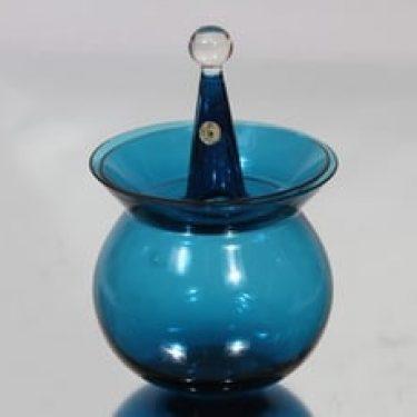 Riihimäen lasi Harlekiini makeisrasia, sininen, suunnittelija Nanny Still, pieni