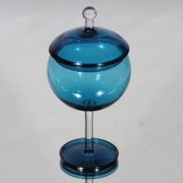 Riihimäen lasi Harlekiini sokerikko, sininen, suunnittelija Nanny Still,