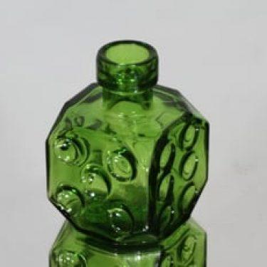 Riihimäen lasi Arpa on heitetty koristepullo, vihreä, suunnittelija Erkkitapio Siiroinen, pieni