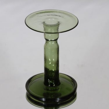 Riihimäen lasi Neptuna kynttilänjalka, vihreä, suunnittelija Nanny Still,