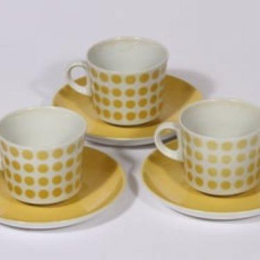 Arabia Pop kahvikupit, keltainen, 3 kpl, suunnittelija Göran Bäck, puhalluskoriste, retro