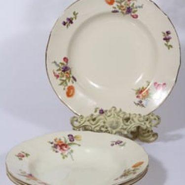 Arabia Kesäkukka lautaset, syvä, 4 kpl, suunnittelija , syvä, siirtokuva, kukka-aihe