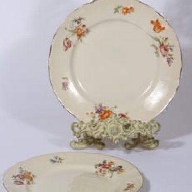 Arabia Kesäkukka lautaset, matala, 2 kpl, suunnittelija , matala, siirtokuva, kukka-aihe