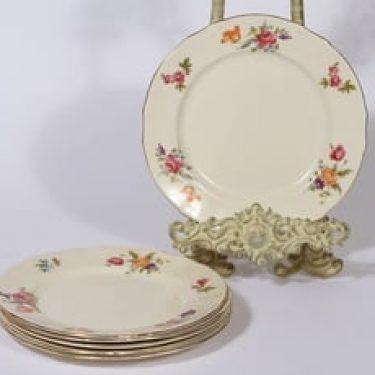 Arabia Kesäkukka lautaset, 6 kpl, suunnittelija , pieni, siirtokuva, kukka-aihe