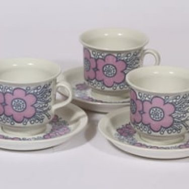 Arabia Violetta kahvikupit, vaaleanpunainen, 3 kpl, suunnittelija Raija Uosikkinen, serikuva, retro