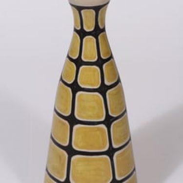 Kupittaan savi maljakko, käsinmaalattu, suunnittelija Orvokki Laine, käsinmaalattu, signeerattu, retro