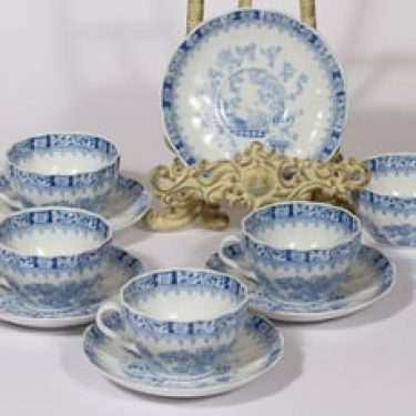 Arabia OB kahvikupit, sininen, 5 kpl, suunnittelija , serikuva