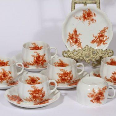 Arabia kukkakuvio teekupit, oranssi, 6 kpl, suunnittelija , siirtokuva