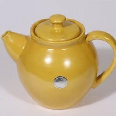 Kupittaan savi teekaadin, keltainen lasite, suunnittelija ,