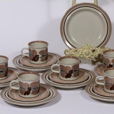 Arabia Koralli kahvikupit ja lautaset, käsinmaalattu, 6 kpl, suunnittelija Raija Uosikkinen, käsinmaalattu
