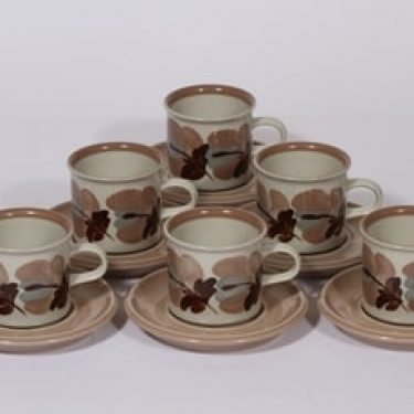 Arabia Koralli kahvikupit, käsinmaalattu, 6 kpl, suunnittelija Raija Uosikkinen, käsinmaalattu