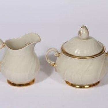 Arabia Kultakoriste sokerikko ja kermakko, suunnittelija Olga Osol, kullattu