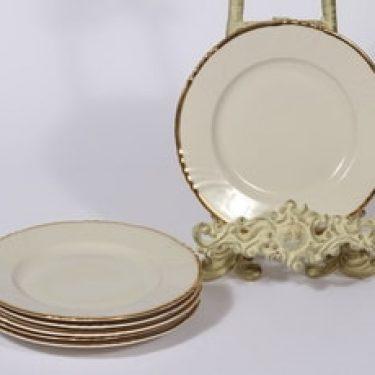 Arabia Kultakoriste leivoslautaset, 6 kpl, suunnittelija Olga Osol, kullattu