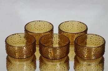 Riihimäen lasi Grapponia jälkiruokakulhot, amber, 5 kpl, suunnittelija Nanny Still,