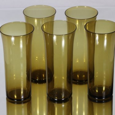 Nuutajärvi Trumpetti lasit, ruskea, 5 kpl, suunnittelija Kaj Franck,