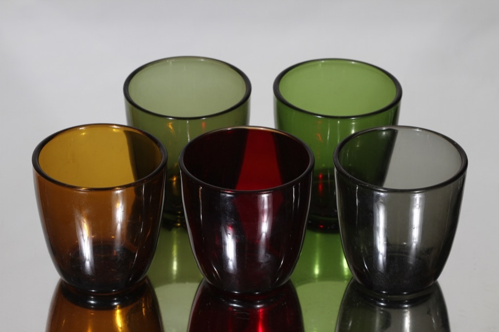 Iittala 4090 lasit, eri värejä, 5 kpl, suunnittelija Tapio Wirkkala,